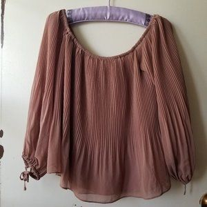 Beige Tied Long Sleeve Pleated Top Size M